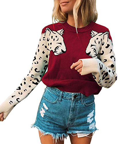 Angashion Women's Sweaters Casual Leopard Printed Patchwork Long Sleeves Knitted Pullover Cropped Sweater Tops Red M