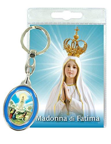 Ferrari & Arrighetti Llavero Virgen de Fátima con oración en Italiano (Paquete de 3 Piezas)