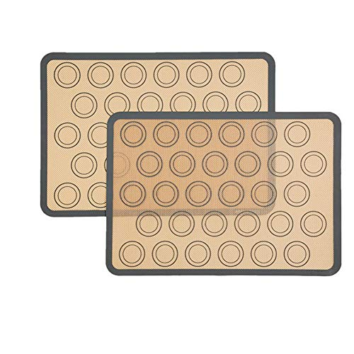 Silicone Baking Mats Non-stick Macaroon Baking Sheet Heat-Resistant Cooking Mat for Pastry Pizza Bread 2 pack