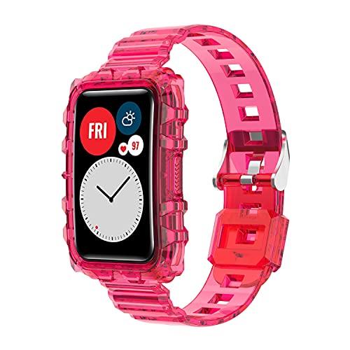 BoLuo Correa para Huawei Watch Fit,Correas Reloj,Bandas Correa Repuesto,Flexible Crystal Anti-Scrach Silicona Reloj Recambio Brazalete Watch Correa Repuesto para Huawei Watch Fit Accessories (Rosa)