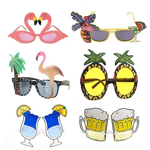 Queta 6Pcs Gafas Divertidas Hawaianas Gafas de Fiesta Gafas de playa Lindas gafas divertidas Gafas de sol Gafas interesantes Accesorios fotográficos para niños y adultos.