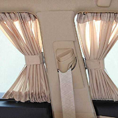LIMMC 2 x 50L rekbaar aluminium rail auto zijvenster zonnescherm gordijn auto venster zon vizier met elastische kabel - zwart/Beige/grijs Zwart