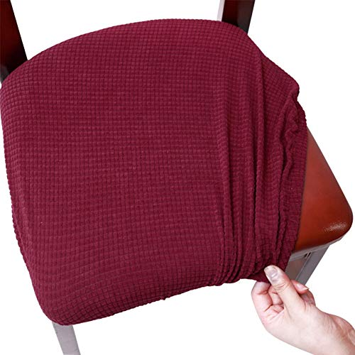 CALIDAKA Chair Seat Cover Stretch Solid Washable Removable Easy Install with Ties Button Anti-Dust Chair Seat Covers Chair Protector Seat Cushion Slipcovers for Dining Room, Office