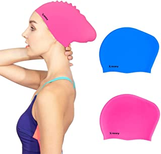 Keary 2 Pack Updated Silicone Swim Cap for Long Hair...