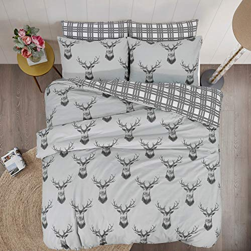 Linen Zone - 100% Cotton Reversible Printed Duvet Cover Set, Double - Stags Silver