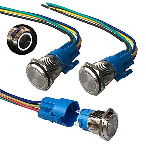 QitinDasen 3Pcs Premium 12V / 24V 5A Interruptor de Botón Momentáneo, 19mm Interruptor de Botón Metálico, LED Blanco Interruptor Pulsador Impermeable IP67 con Enchufe de Cable