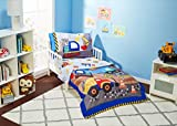 EVERYDAY KIDS 4 Piece Toddler Bedding Set - Under Construction - Includes Comforter, Flat Sheet, Fitted Sheet and Reversible Pillowcase