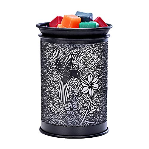 ASAWASA Metal Electric Wax Warmer Night lamp,Use Cubes Wax Melts Essential Oil Fragrance Oils,for Home Office Bedroom Living Room Gifts Décor Aromatherapy Spa 4.57'x4.57'x6.38'(Hummingbird)