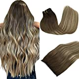 GOO GOO Human Hair Extensions Clip in Ombre Walnut Brown to Ash Brown and Bleach Blonde Remy Clip in Hair Extensions Straight Natural Thick Hair Extensions 16 Inch 120g