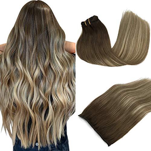 GOO GOO 120g Human Hair Extensions Clip in Walnut Brown to Ash Brown and Bleach Blonde Real Hair Extensions Clip in Remy Extensions 20 Inch Straight Thick Hair
