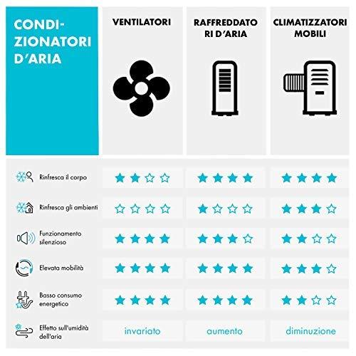 KLARSTEIN Skyscraper Ice - Sistema 4 in 1, Raffreddatore d'Aria, Ventilatore, Ionizzatore, Umidificatore, Portata: 500m³/h, 45W, 3 Livelli di Potenza, Telecomando, Siberini, Nero