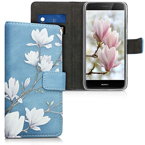 kwmobile Hülle kompatibel mit Huawei P8 Lite (2017) - Kunstleder Wallet Case mit Kartenfächern Stand Magnolien Taupe Weiß Blaugrau