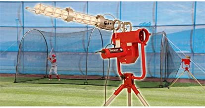 Heater Sports Pro Breaking Ball Baseball Pitching Machine With Auto Ball Feeder & Xtender 24' L x 12' W x 12' H' Batting Cage
