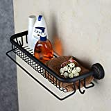 <span class='highlight'><span class='highlight'>Hiendure</span></span>® 18 inch Wall Mounted Solid Brass Bathroom Shelf Basket Organizer with Towel Holder and Hooks,Oil Rubbed Bronze