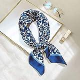 HDBN De Las Mujeres Bufandas y chales Señoras de la Tela Cruzada Impresa Crespo pañuelo de Gasa Conveniente for el Partido Trabajo Viajes Y Satén de Seda Feel (Color : Blue, Size : 70x70CM)