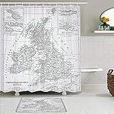 Ensemble de rideaux et tapis de douche en tissu,Carte de gravure de l'Angleterre de l'encyclopédie complète contenant la science icon,Rideaux de bain imperméables avec 12 crochets,tapis antidérapants