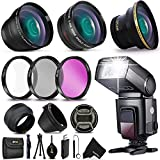 58mm 3 Lens Kit + Flash for Canon EOS 80D 77D 70D EOS Rebel T7i T6i T6S T5i T4i T3i T2i T1i XTi XT SL1 XSi, EOS M, EOS M2, EOS 760D 700D 650D 600D 550D 70D 60D 6D 5D 7D, 7D Mark II DSLR Cameras