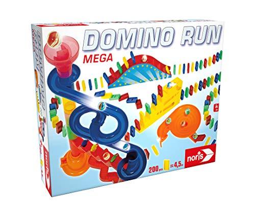 Noris 606065647 - Domino Run Mega - Set mit 200 Steinen, Murmeln, Kugelbahn und weiterem Zubehör, ab 3 Jahren