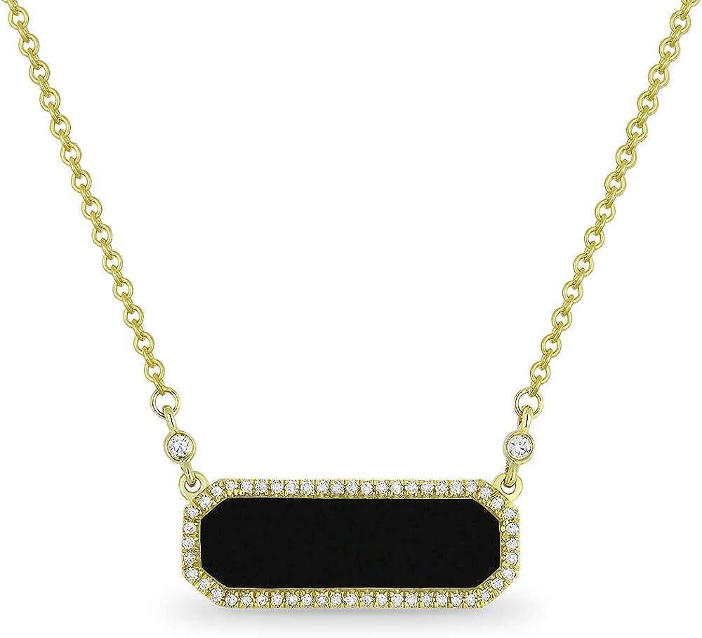 14K Yellow Gold Rectangular Nippon regular agency Shape 1.11ct .13ct White Diam Seattle Mall Onyx