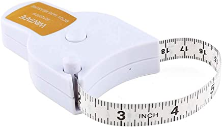 WIN TAPE 80'' 205cm Waist Body Tape Measure with Push Button, Measuring Waist and Arms (White)
