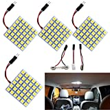 Everbright 4-Pack Super White 5050 36-SMD LED Panel Dome Lamp Car Interior Reading Plate Light Roof Ceiling Interior Wired Lamp With 4 x BA9S Adapter,4 x T10 Adapter,4 x Festoon Adapter (DC-12V)