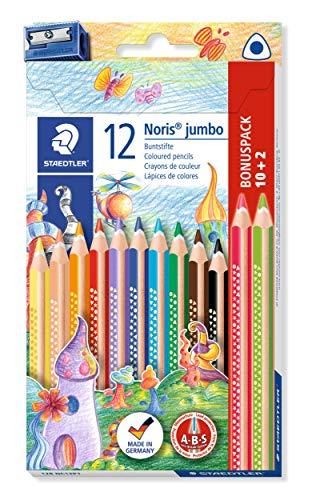STAEDTLER 128 NC12P1 Buntstift Noris jumbo (erhöhte Bruchfestigkeit, Dreikantform, ABS-System, attraktive Sternchenprägung, Bonuspack mit 12 brillanten Farben und einem Spitzer)