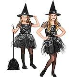 Widmann - Costume de sorcière 2 pièces pour enfant, robe et chapeau, noir et argent,...
