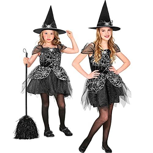 WIDMANN - Disfraz infantil de bruja de 2 piezas, vestido y sombrero, color negro y plateado, red de araa, cuento de hadas, disfraz, fiesta temtica, carnaval, Halloween.