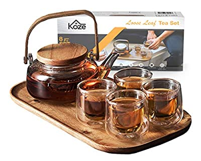 KOZE Loose Leaf Tea Kettle Infuser Set - Glass Teapot with Removable Strainer, Microwave & Dishwasher Safe, 4 Double-Wall Glasses & Acacia Wood Serving Tray
