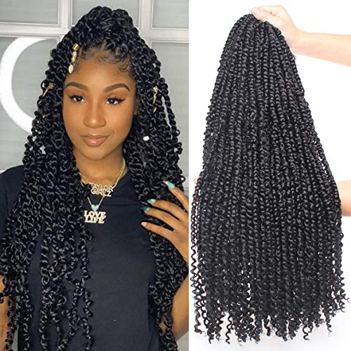 Leeven 22 Inch 6 packs Pre-twisted Passion Twist Crochet Hair 15 Roots/pack Pre-looped Crochet Braids Hair for Passion Twist Braiding Hair Natural Black Twists Hair