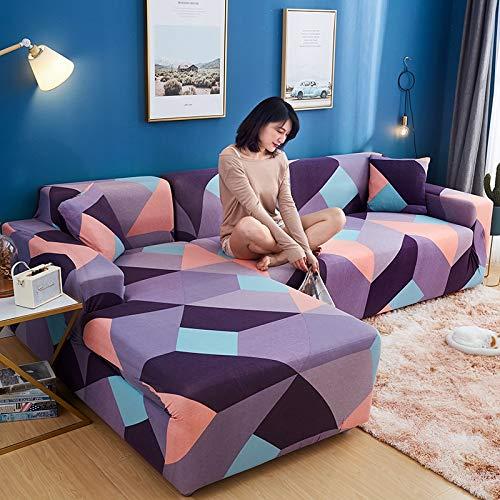 WXQY Funda de sofá de Sala de Estar con patrón geométrico combinación elástica a Prueba de Polvo Antideslizante Funda Protectora de sofá de Esquina en Forma de L A12 1 Plaza