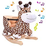 BAKAJI Giraffa a Dondolo Cavalcabile Peluche con Seduta Giocattolo per Bambini con Effetti Sonori Maniglie e Cintura di Sicurezza