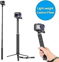 TELESIN Selfie Stick Tripod, 35.5'' Carbon Fiber Lightweight Selfie Pole Monopod for GoPro Hero 8, Hero 7, Hero 6, Hero 5, Hero 4 3, DJI Osmo Action Osmo Pocket, Insta360, AKASO and More Action Camera
