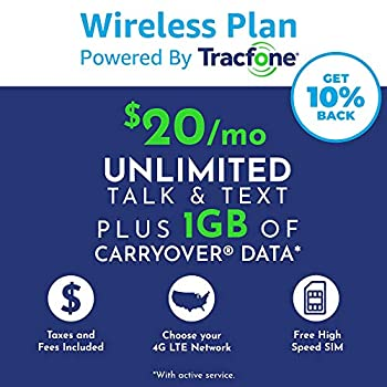 Tracfone Monthly Carrier Subscription for Unlimited Talk Text 1GB Data plus Carryover Data Plan + Tracfone SIM Kit  AT&T Compatible