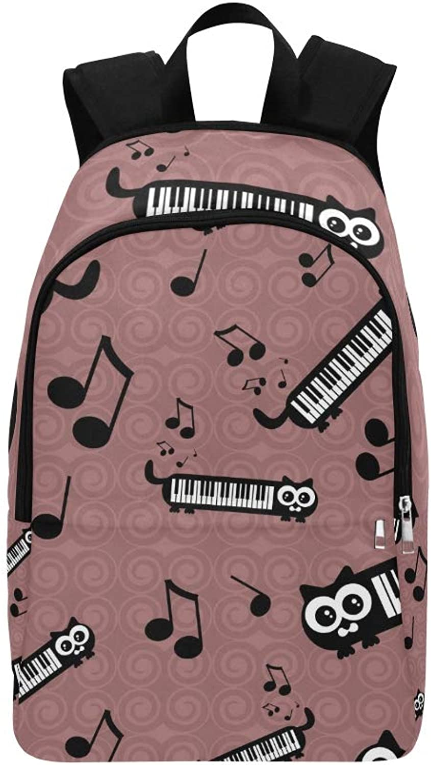Cute Funny Cats Musical Casual Daypack Travel Bag College School Backpack for Mens and Women