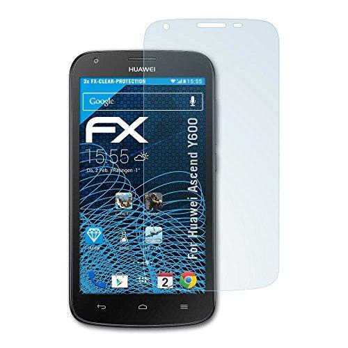 atFolix Schutzfolie kompatibel mit Huawei Ascend Y600 Folie, ultraklare FX Bildschirmschutzfolie (3X)