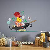Dibujos animados Happy Pan Cocina Wall Sticker para Cocina...