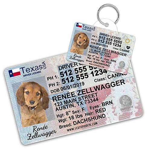 1 Cute Pooch Texas Driver License Custom Dog Tag for Pets and Wallet Card - Personalized Pet ID Tags - Dog Tags for Dogs - Dog ID Tag - Personalized Dog ID Tags - Cat ID Tags - Pet ID Tags for Cats