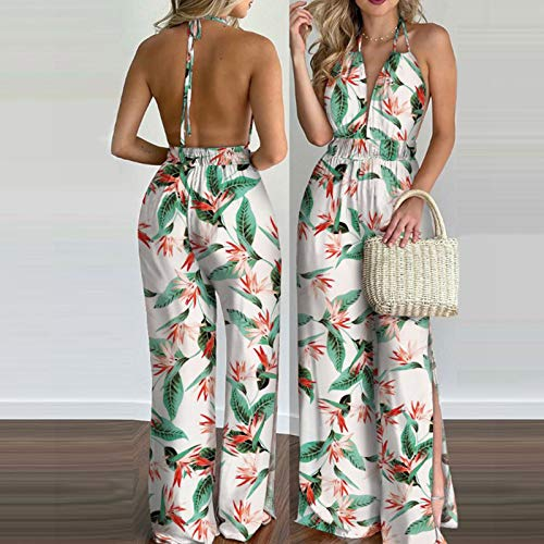 AMhomely Women Dresses Promotion Sale Clearance Ladies Fashion Halter Backless Slit Leg Floral Print Jumpsuit Party Eleagant Dress UK Size S-3XL