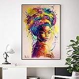 N / A Pintura sin Marco Mujer Africana impresión Abstracta Cartel Chica Retrato Colorido Pintura al óleo Lienzo Mural Sala artCJX2126 50X70cm