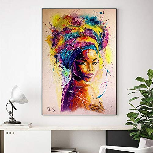N / A Pintura sin Marco Mujer Africana impresión Abstracta póster Retrato de niña Pintura al óleo Colorida Lienzo Mural Sala de Arte artCJX2127 60X90cm