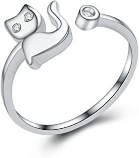 NIDA New York - 925 纯银精致猫形可调节开口时尚戒指