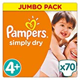 Pampers - Simply Dry - Couches Taille 4+ (9-20 kg/Maxi+) - Jumbo Pack - Lot de 2 (x140 couches)