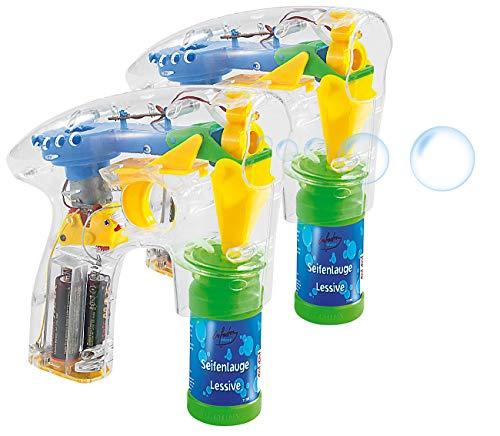 infactory Seifenblasen Pistolen: 2er-Set Seifenblasenpistolen mit LEDs...