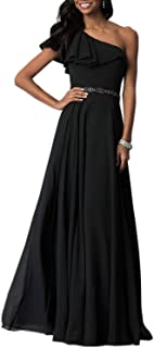 Aofur Elegant Womens One Shoulder Long Chiffon Maxi Dress Summer Beach Holiday Party Evening Dresses