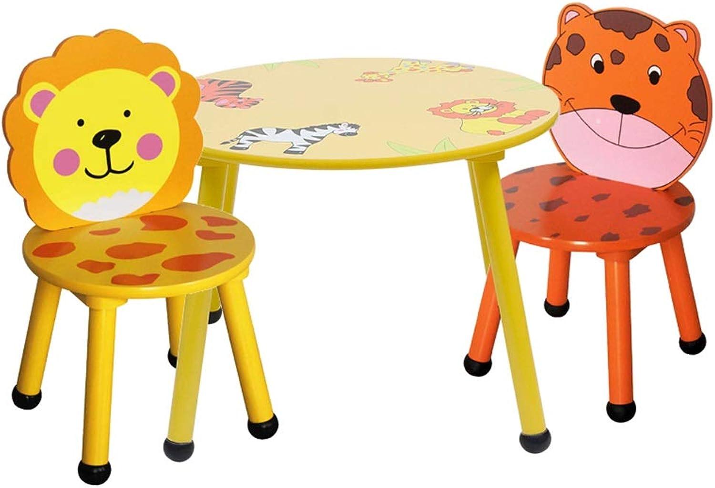 Tische & Stühle Kindertisch Kindergarten Cartoon Spieltisch Holz Multifunktionale Studie Tisch Home 1 Tisch 2 Stuhl Set (Farbe   A)