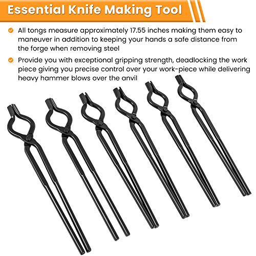 Blacksmith V-Bit Tongs Knife Making Tongs Set Bladesmith Tools Anvil Vise Forge Tongs Includes 3/8, 1/2, 5/8, 3/4, 7/8, 1 Inch (6 Tongs)