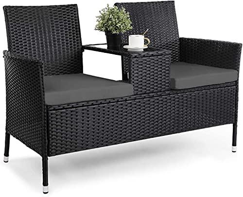 Polyrattan Gartenbank mit Tisch, Schwarzer Paarsitz mit Sitzkissen, Gartenbank Rattan 2 Sitzer, Geeignet für Gärten, Terrassen, Balkone und...