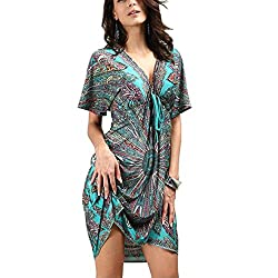 1.Bohemia style,Ice Silk Cotton, Very soft and comfortable.Perfect for summer holiday vacation daily wear. 2.Feature loose design ,easy to put and take off. Also the V-Neck with front and back ,is more sexy and standout on the beach .The front Belt c...