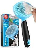 Bluepet® Katzenbürste - Hundebürste ZupfZeug mit Selbstreinigungsknopf - Für Mittel- & Langhaar - Entfernt sanft Unterwolle, Verfilzungen & Knoten - Lockert das Deckhaar
